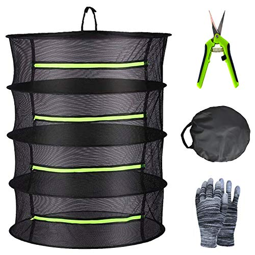 YOUSHENGER Herb Drying Rack Net 4 Layer 2ft Black Mesh Hanging plant drying rack net with Green Zipper and Garden Gloves Weed Drying Rack with Pruning Scissors for Hydroponic Plant Herb and Bud