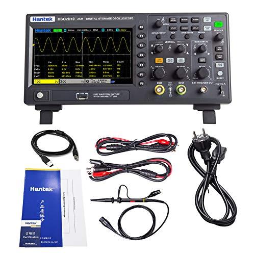 Hantek DSO2D10 Digital Osciloscopio 2 Canales 1GSa/S Almacenamiento Osciloscopio 100 MHZ Banda ancha Mano