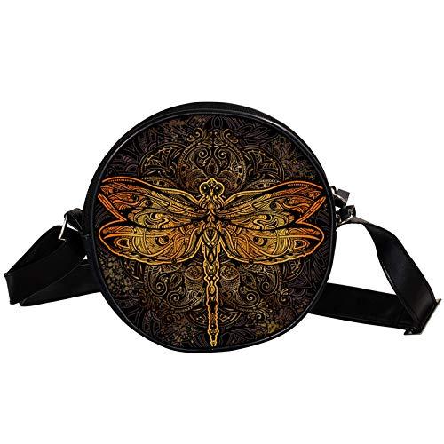 Bandolera redonda pequeña bolso de mano para mujer, bolso de hombro de moda, bolso de mensajero de lona, bolsa de cintura, accesorios para mujer, mandala de libélula