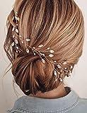 Beryuan Haarschmuck für Damen, schlichte Perlen, mit klaren Kristallblättern, silberfarben, Hochzeits-Haarschmuck, Geschenk für Ihre Party, Kopfschmuck für Braut, Brautjungfer, Mädchen (Silber)