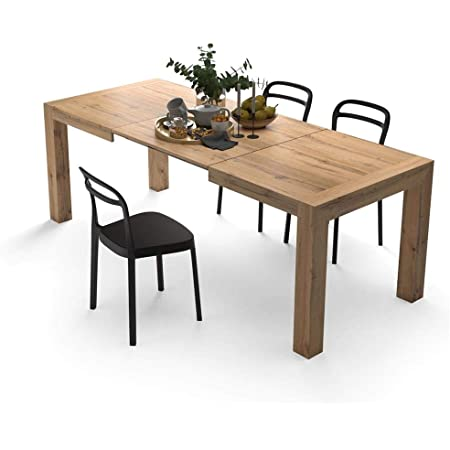 Mobili Fiver, Table Extensible Cuisine, Iacopo, Bois Rustique, 140 x 90 x 77 cm, Mélaminé, Made in Italy
