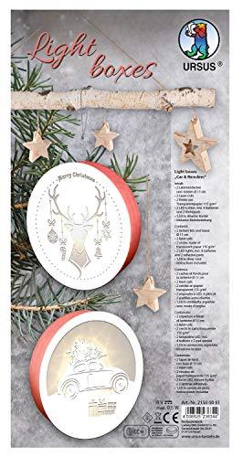 URSUS 21500001 - Light Boxes Car and Forest, Material für 2 beleuchtete, weihnachtliche Fensterbilder, filigrane Motive gelasert, Durchmesser je ca. 15,3 cm, inklusive LED Licht