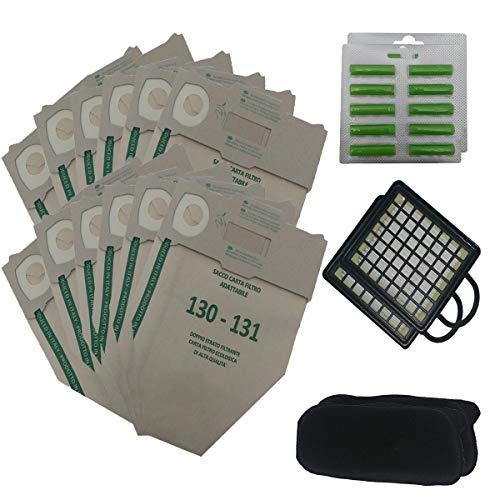 Kit 12 Sacchetti Compatibile Per Vorwerk Folletto VK130/131 + 20 Profumini + 2 Filtri Odori + 2 Filtri HEPA- Garanzia 24 Mesi Figevida