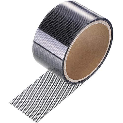 Cinta Adhesiva de Reparación de Pantalla Parche de Malla Impermeable Fibra de Vidrio con Adhesivo Fuerte para Reparar Pantalla de Ventana y Puerta Anti Mosquito (2 x 80 Pulgadas, Gris)