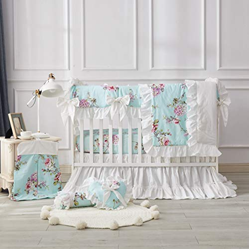 Brandream French Country Farmhouse Crib Bedding Sets for Girls Hydrangea Peony Floral Baby Cotton Nursery Bedding Sets 8 Pieces