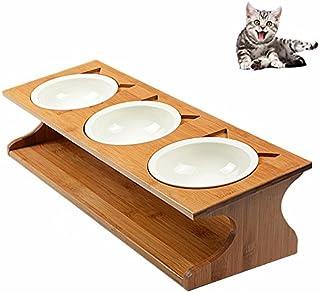 Petacc 猫 食器 スタンド 陶器 小型犬えさ皿 食台 猫用フード 水 ボウル (51*17.5*12cm)