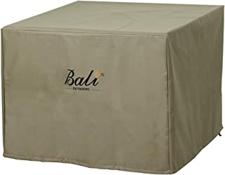 BALI OUTDOORS Square Durable Fire Pit Cover, 600D Heavy Duty with PVC Coating, Khaki, 28.3'' x 28.3'' x 25''