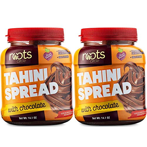 Roots Circle Chocolate Tahini Spread | Pack of 2 [14oz] Jars | Low Calorie Nut Free Creamy Sesame Seed Butter Paste for Snacking, Hummus, Dips, Desserts & Baking | Vegan, Kosher, Dairy & Gluten-Free