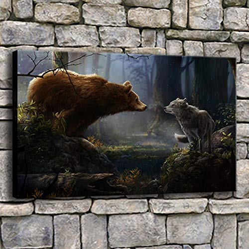 MMLZLZ Decorative Paintings Modern Artwork Home Decor Wall 1 Piece Animals Bear and Wolf Forest Picture HD Print Type Canvas Painting (24x32inch)