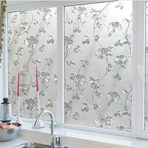Emmala geen lijm glas film licht ondoorzichtig papier en badkamer uniek venster glas keuken badkamer venster sticker papier 3D rotan bloem 30 cm breed 2 m