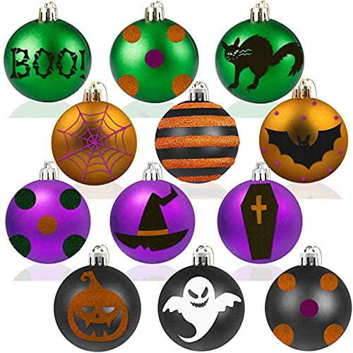 12pcs Halloween Hanging Ball Decorations, Colorful Halloween Trick Treat or Boo Spider Web Cat Ball Halloween Party…