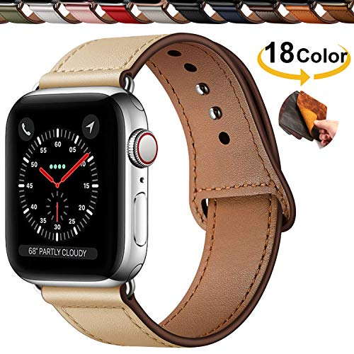 Qeei Compatible with Apple Watch 42mm 44mm en Cuir V¨¦Ritable,Innovative Bracelet Boucle Cach¨¦e Minimaliste Bande de Montres Replacment for iWatch Series 5 & 4 3/2/1,Apricot