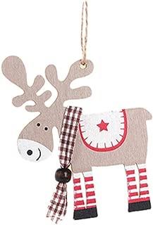 DONGMING Wooden Christmas Ornament Reindeer Elf Xmas Tree Decorative Hanging Decoration,Khaki Deer Pendant