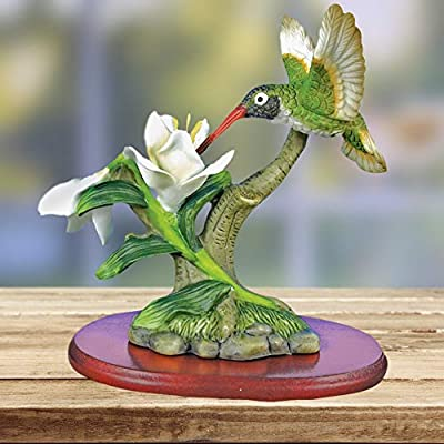 BANBERRY DESIGNS Hummingbird Figurine Porcelain with White Flowers with Separate Wood Base 4.25 Inch