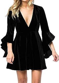 Womens Velvet Party Dresses Plunge 3/4 Sleeve Elegant A Line Swing Skater Dress Mini Gowns