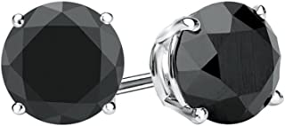 Sterling Silver Round Black Diamond Prong Set Solitaire Stud Earrings For Women (0.30 t)