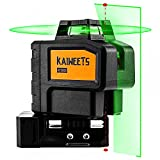 [Up to 40Hrs] KAIWEETS Self Leveling Green Laser Level, 360 Laser Line with 2 Plumb Dots, Construction Laser Level for Picture Hanging, Outdoor Cross Line 197ft with 2 Charge Batteries, Magnetic Stand