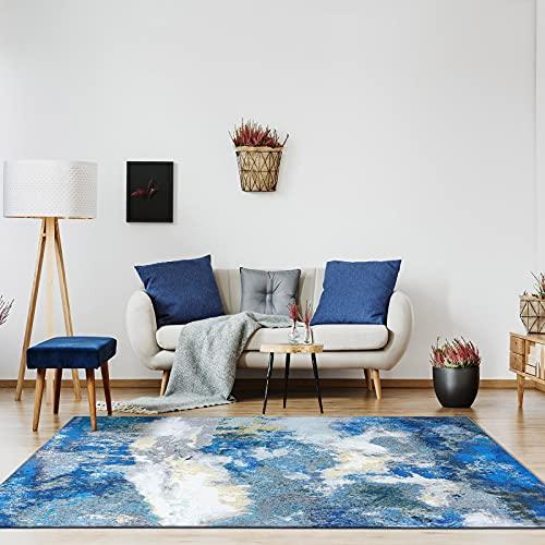 Decomall Waltz Teppich Teppich Wohnzimmer Schlafzimmer Esszimmer Modern Abstrakt Dunkelblau 160x230cm