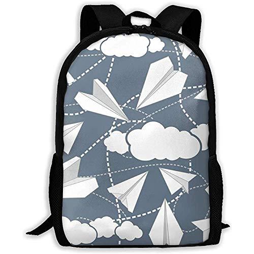 Rucksack,Schultaschen,Reiseeucksack,Multifunktionsrucksack,Schulrucksack,Papierflieger In Wolken Casual Oxford Daypacks,Laptop-Rucksack Für Frauen Männer,Reiserucksack