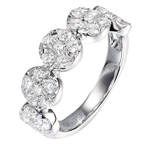 Anillo de Compromiso de Oro Blanco de 18K Anillo de Diamante de 18 Quilates 1.0 cttw para Mujeres,15(17.2mm)