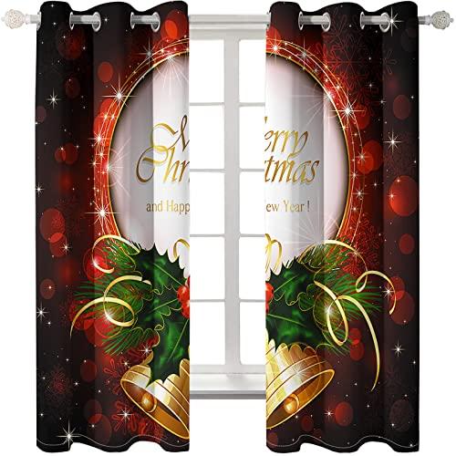 KLily Cortina De Atmósfera del Día De Navidad Sombreado Grueso A Través De La Varilla Método De Instalación Perforado Cortina Patrón De Muñeco De Nieve De Navidad Adecuado para Decoración De Fondo