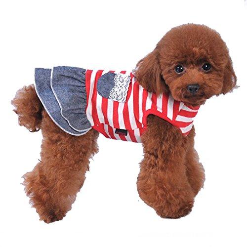 (ボラ-キキ) Bole-kk 犬 服 スカートワンピース デニム 小型犬 中型犬 ペット洋服 tシャツ ドレス ボーダー かわいい 春 夏