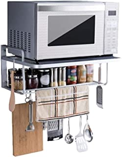 DUDDP Cocina estanterías Estante de Almacenamiento Organizador Estante de Cocina Horno de microondas Rejilla Colgador de Pared Espacio Inoxidable Aluminio Pilones de 2 Capas Soporte de Almacenamiento