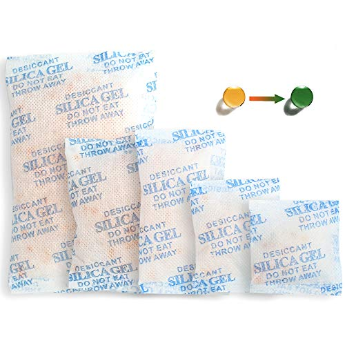 100Packs Silica Gel Packets, (3-50g Mixed) Rechargeable Desiccant Packets and Dehumidifier with Orange Color Indicating, Food Safe Silica Gel for Moisture Abosrber