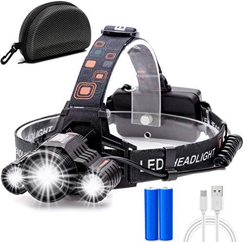 Torcia Frontale, Cobiz Lampada Frontale LED Ricaricabile USB 10000 Lumen Lampade da Testa LED, Luce Frontale Impermeabile Zoomable 4 modalità, per Correre Campeggio Corsa