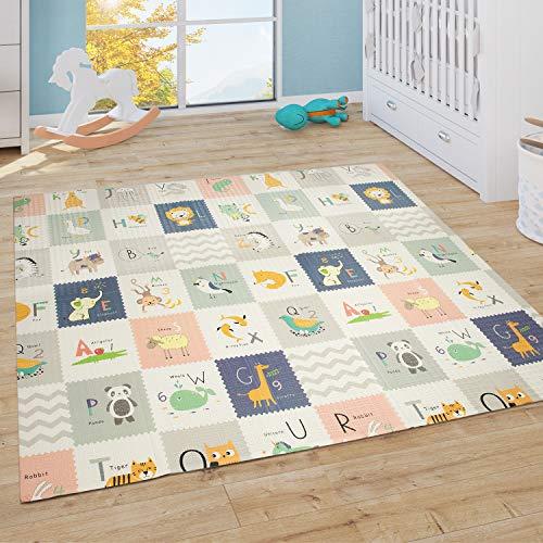 Paco Home Spielmatte Krabbelmatte Baby Kinder Matte Faltbar Abwaschbar Wendbar Tier Motiv, Grösse:180x200 cm