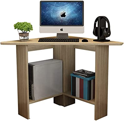 Corner Computer Desk with Two Open Storage Shelves, Made of Solid Wood, Durable and Corrosion Resistant, Suitable for Dormitories, College Dormitories