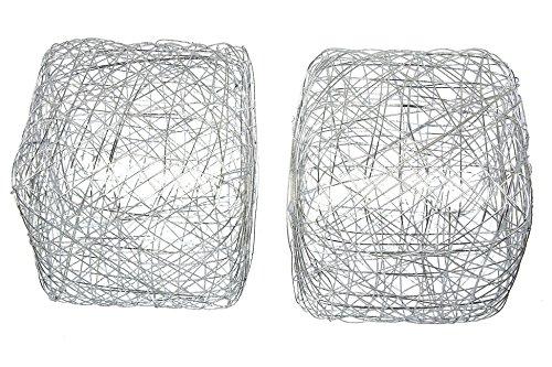 Steingaesser Fil Cube, Lot de 2, Métal, Silber, 12 x 12 x 12 cm
