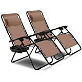 Goplus Zero Gravity Chair Set 2 Pack Adjustable Folding Lounge Recliners for Patio Outdoor Yard Beach Pool w/Cup Holder, 300-lb Weight Capacity (Brown)
