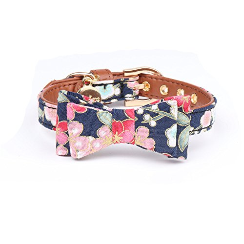 YIEPAL Small Dog Collar with Bow Tie Cute Leather Puppy Bow Collar for Girl Cat Collar for Kitten Adjustable Metal Buckle,(Medium, Blue Floral)