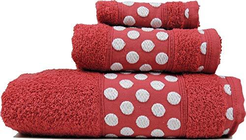 Juego de Toallas de Algodón 100% con un Grosor de 450 Gramos/m2, Compuesto por una Toalla de baño, una de Lavabo y Otra de tocador. (Rojo, Talla Unica)