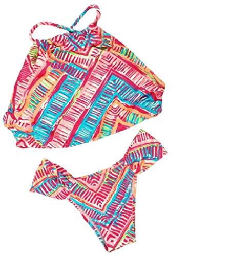 LinkShow Womens Polka Dots Print Summer Beach Sexy Strappy Holiday Swimsuits Bikini Set 32 M