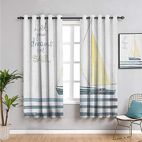 Nautical Blackout Curtain, Curtains 45 inch Length let Your Dreams Set sail Quote Stripes Yacht Interior Navigation Theme Bathroom Curtain Pale Blue White W63 x L45 Inch