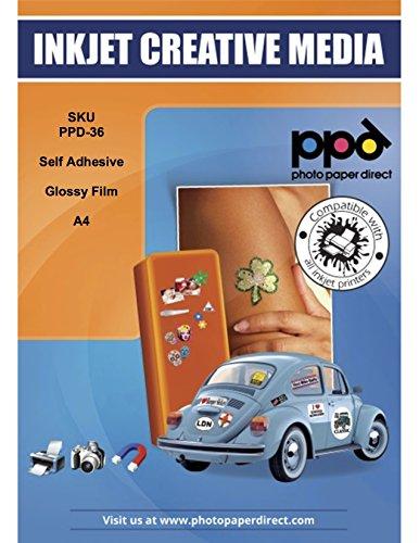 PPD Pegatinas de vinilo con acabado brillante para impresión de inyección de tinta A4 x 10 hojas PPD-36-10