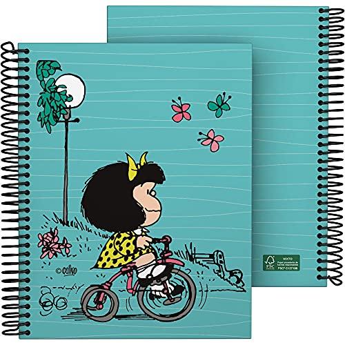 Mafalda 16512639. Cuaderno A5, Espiral, Tapa Dura Cartón Forrado, Cuadricula 5x5, Certificado FSC, Colección Mafalda, Bici