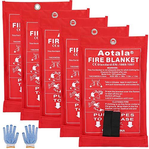 SAINUOD Feuerlöschdecke Notfall für Küche, Unterdrückung schwer entflammbar Sicherheitsdecke für Zuhause, Schule, Kamin, Grill, Auto, Büro, Lager (5 Stück)