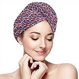 Toalla de pelo de microfibra para mujer con botón de secado rápido, turbante mágico, de 28 x 28 pulgadas, diseño de la bandera del Reino Unido