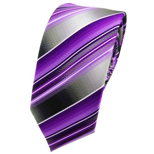TigerTie - corbata estrecha - morado lila antracita plata rayas