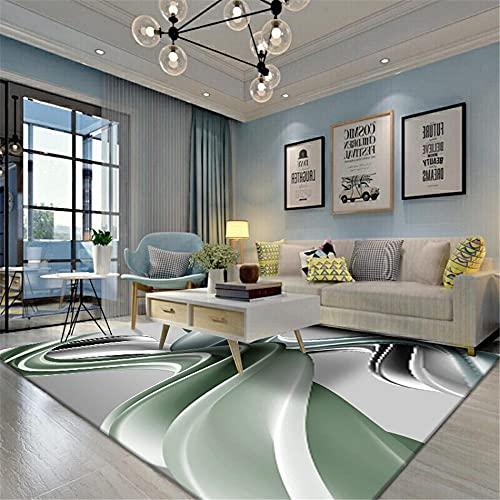 Kunsen alfombras Lavables Salon Alfombra para Silla Gaming Dormitorio Alfombra Gris Verde antiincrustante fácil de Limpiar Alfombra para niños 100x180cm 3ft 3.4' X5ft 10.9'