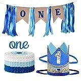 1er Cumpleaños, Decoración De La Corona, Primer Cumpleaños Decoraciones Arpillera Cumpleaños Banner,Suministros Para Fiestas De Cumpleaños (Plata Y Azul Real)