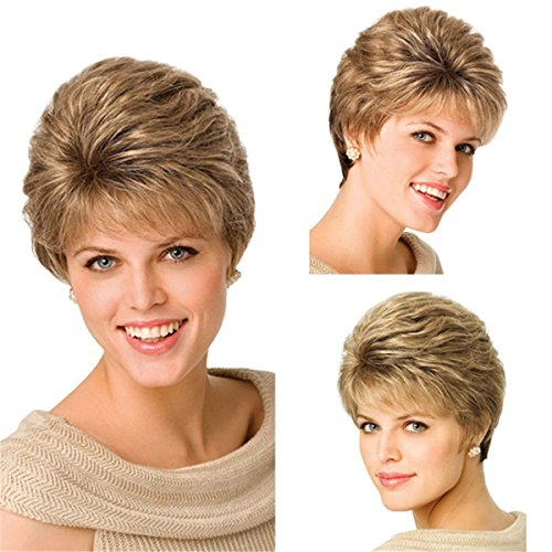 YX Brown Natural Hair Wig afro Women Synthetic Wigs Short Wigs for Black Women as Real Hair...
