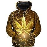 WJJKSLAOQ ImpresióN 3D Weed Hoodie Top Pullover Hombres Y Mujeres Sudadera con Capucha Casual Green Weed Leaf Hoodie Weed 3D Hoodie Jacket Hombres