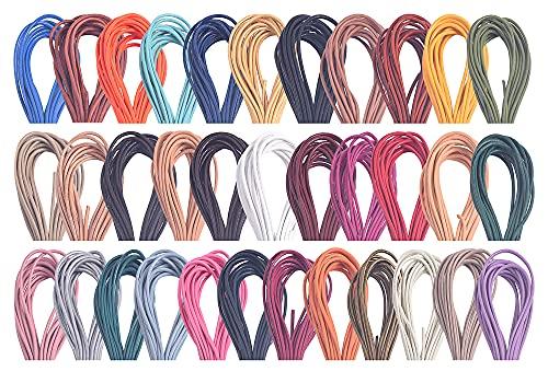KONMAY 92 metros 2.0mm 20 colores mezclados redondo cordón de cuero real para hacer joyas, manualidades