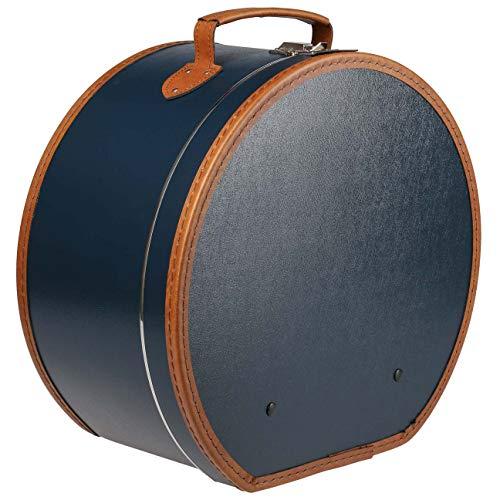 Lierys runder Hutkoffer blau - Maße: 40 cm x 21 cm - große Hutschachtel aus Kunstleder - Hutbox zur Aufbewahrung mit Tragegriff und Klappverschluss - Koffer für Hüte - auch als Deko für die Wohnung