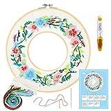 Caydo kit de inicio de bordado con patrón e instrucciones, kit de bordado de doble aro, paño de bordado con patrón, 2 aros de bambú bordado, hilos de color y herramientas