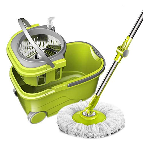 Spin Mop Bucket on Wheels, Best Floor Mop Easy to Use, for Professional Home Floor Cleaning System - 360 Spin Non Scratch Microfiber Wet Jet Mop with Integrated Wringer Bucket